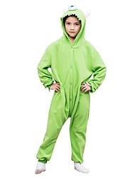 Kids Kigurumi Pajamas Mike Wazowski Leotard/Onesie Festival/Holiday Animal Sleepwear Halloween Green Solid Polar Fleece For Kid Halloween Christmas