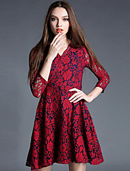 Women's Formal Vintage Skater Dress,Floral V Neck Above Knee ¾ Sleeve Red Cotton Fall Mid Rise Micro-elastic Medium