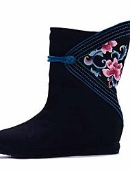 Women's Boots Spring Winter Comfort Canvas Outdoor Dress Casual Wedge Heel Satin Flower Flower Black Walking