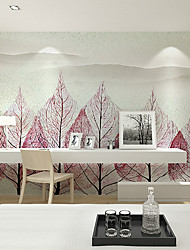 JAMMORY Art DecoWallpaper For Home Wall Covering Canvas Adhesive required Mural Red Leaf XL XXL XXXL
