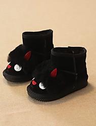 Girl's Boots Winter Comfort Cowhide Casual Flat Heel Black Pink