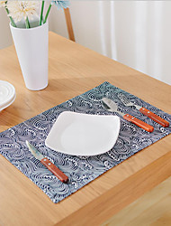 Quadrato Stampa / Con stampa / Navy Tovagliette all'americana , Misto cotone Materiale Hotel Dining Table / Tabella Dceoration