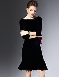 2016 senhoras nova maré temperamento magro hip pacote babados vestido preto -