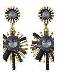 European Style Fashion Metal Shining Sunflower Drop Earrings Jewelry Women