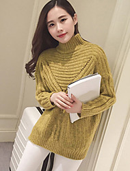 Women's Casual/Daily Simple Regular Pullover,Solid Red / Gray / Yellow Turtleneck Long Sleeve Rayon Fall Medium