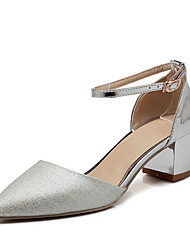 Women's Heels Summer Others / D'Orsay & Two-Piece Leatherette Wedding / Party & Evening / Dress Chunky Heel Buckle / Hollow-outPink /