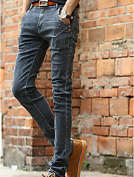 Men's Skinny Jeans Pants,Casual/Daily Simple Solid Mid Rise Zipper Cotton Micro-elastic Fall / Winter