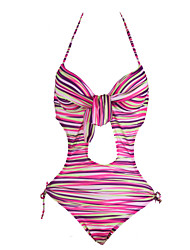 Women's Print/Striped Yellow/Purple One Piece Swimwear,Sexy Halter Bow