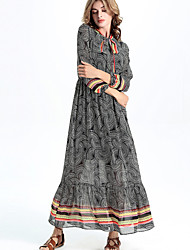 The new Europe and the United States in the autumn Long sleeve chiffon printing elastic waist dress collar lace of the dress