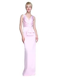 2017 Lanting Bride® Floor-length Satin Elegant Bridesmaid Dress - Sheath / Column V-neck with Bow(s) / Pleats