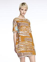 Women's Casual/Print/Cute/Plus Sizes Inelastic Short Sleeve Knee-length Dress (Cotton/Linen/Knitwear)