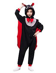 Kids Kigurumi Pajamas Bat Leotard/Onesie Festival/Holiday Animal Sleepwear Halloween Black Solid Polar Fleece For Kid Halloween Christmas