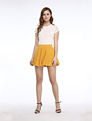 Moda feminina Yellow All-jogo Pure Color Mini Saia plissada