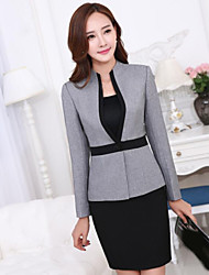 Women's Plus Size Simple Fall Blazer,Solid Asymmetrical Long Sleeve Gray Others Medium