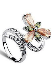Ring Crystal Daily Casual Jewelry Alloy Women Ring Statement Rings 1pc,One Size Silver
