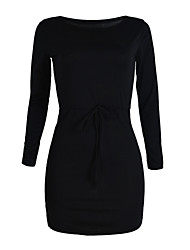 Women's Casual/Daily Sexy Sheath Dress,Solid Off Shoulder Above Knee Long Sleeve Red / Black Polyester Summer Mid Rise Micro-elastic