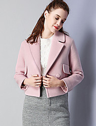 KAN F Women's Casual/Daily Simple JacketsSolid Notch Lapel Long Sleeve Fall Winter Pink Wool Polyester