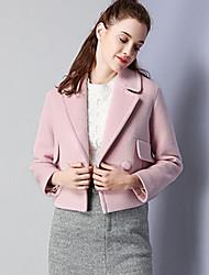 Feminino Jaqueta Casual Simples Outono Inverno, Sólido Rosa Lã Poliéster Lapela Chanfrada-Manga Longa