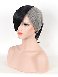 Fashion Straight Black To White Color Synthetic Cosplay Wigs