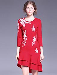 Feminino Sereia Vestido, Casual Simples Bordado Decote Redondo Acima do Joelho Manga ¾ Vermelho Preto Elastano Primavera OutonoCintura
