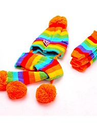 Cat / Dog Socks / Bandanas & Hats Yellow / Pink / Multicolor Dog Clothes Winter / Spring/Fall Color Block Cute / Keep Warm