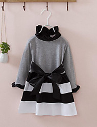 Girl's Casual/Daily Striped Dress,Cotton Spring Fall Long Sleeve