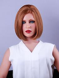 Mujer Pelucas de Cabello Natural Cabello humano Encaje Frontal Densidad Liso Peluca castaño medio Strawberry Blonde / castaño medio Medio