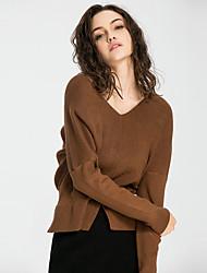 Feminino Camiseta Para Noite Casual Férias Sensual Moda de Rua Sofisticado Todas as Estações Inverno,Sólido Preto Marrom Cinza VerdeRaiom