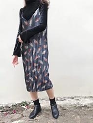Tricot Robe Femme Décontracté / Quotidien simple,Imprimé A Bretelles Midi Manches Longues Bleu Rouge Jaune Acrylique Automne Taille Haute
