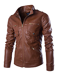 Men's Fashion Slim Zipper Design PU Leather Jacket Solid Stand Long Sleeve Fall Winter Black Brown PU Polyester Medium