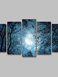 Canvas Set / Unframed Canvas Print Landscape Modern  Moon Night/ RealismFive Panels Canvas Horizontal Print Wall Decor For Home Decoration