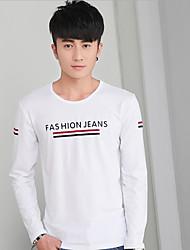 Tee-shirt Hommes,Couleur Pleine Décontracté / Quotidien simple Automne / Hiver Manches Longues Col Arrondi Blanc / Noir / Gris Coton Fin