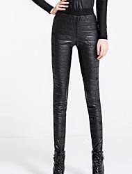 Feminino Skinny Chinos Calças-Cor Única Casual Simples Cintura Média Elasticidade Poliéster / Elastano Micro-Elástico Inverno