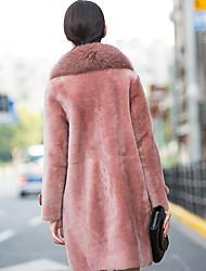 2016 г. импорт овечьей шерсти пальто женский мех лисы воротник шерсти пальто осени 2016 стрижку овец
