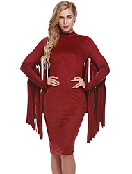 Women's Casual/Daily Club Vintage Simple Bodycon DressSolid Crew Neck Tassel Thick Knee-length Long Sleeve Spring Fall Mid Rise