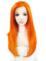 """imstyle 24 """"de color naranja frente del cordón recto sedoso sintéticas pelucas-n2"""