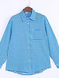 Women's Casual/Daily Street chic Summer Tanks,Plaid Shirt Collar Long Sleeve Blue Cotton Medium
