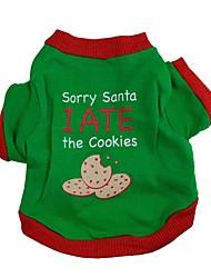 Perro Camiseta Ropa para Perro Adorable Moda Navidad Letra y Número Verde