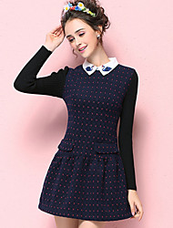KAN F Women's Casual/Daily Vintage A Line Dress,Polka Dot Shirt Collar Above Knee Long Sleeve Polyester Fall Mid Rise Inelastic Medium