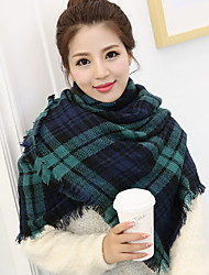 Women Wool Casual Thick Green Plaid Shawl Autumn And Winter Super-wide Fringed Cashmere Shawl