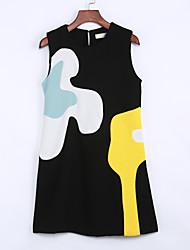 Women's Casual/Daily Street chic Sheath Dress,Jacquard Round Neck Knee-length Sleeveless Black / Yellow Polyester Summer