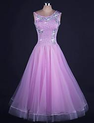 Ballroom Dance Dresses Women's Performance Organza / Lycra Beading 1 Piece Sleeveless Natural DressDress