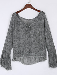Women's Solid Gray Blouse , Boat Neck Long Sleeve