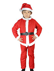 Cosplay Costumes Santa Suits Festival/Holiday Halloween Costumes Red / White Patchwork Top / Pants / More Accessories Christmas Kid