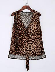 Damen Leopard Retro Lässig/Alltäglich T-shirt,V-Ausschnitt Sommer Ärmellos Gelb Polyester Mittel