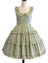Uma-Peça/Vestidos Doce Elegant Cosplay Vestidos Lolita Cor Única Sem Manga Longuete Vestido Para Algodão