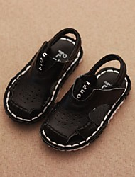 Boy's Sandals Summer Slingback Cowhide Casual Flat Heel Black White