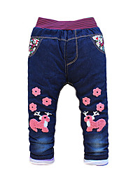 Girl's Cotton Fashion Embroidered Spring/Fall/Winter Going out/Casual/Daily Warm Children Heavy Padded Pants