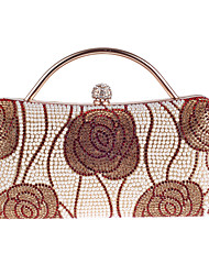 L.WEST Women's Fashion and Elegant Beaded Inlaid Diamonds Flower Evening Bag