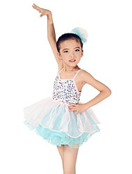 Ballet Dresses Children's Performance Spandex / Polyester / Organza / Sequined Bow(s) / Paillettes / Ruffles / Sequins / Tiers / Splicing